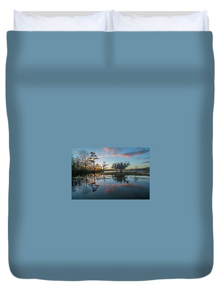 Quiet River Sunset Duvet Cover