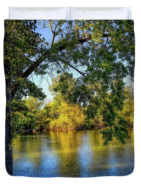 Duvet Cover featuring the photograph Quite Idaho Evening On The Boise River by Jon Burch Photography