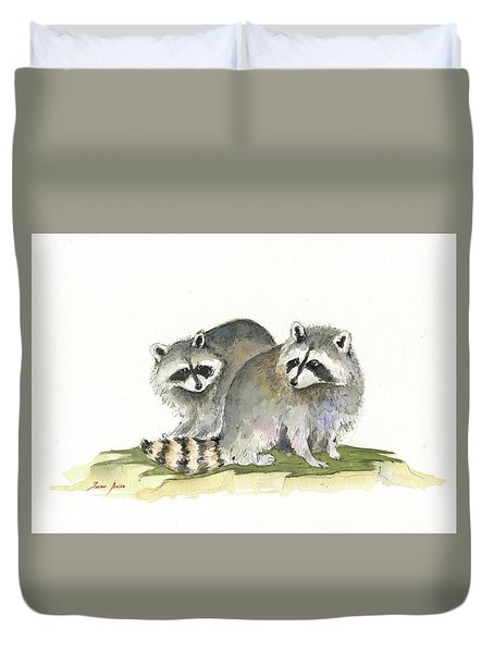 Raccoon Friendship Duvet Cover