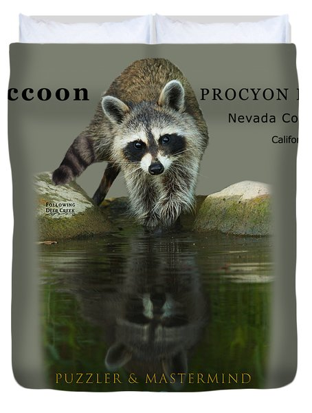 Raccoon Puzzler And Mastermind Duvet Cover