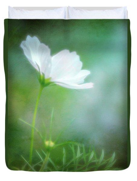 Radiant White Cosmos In The Evening Light Duvet Cover