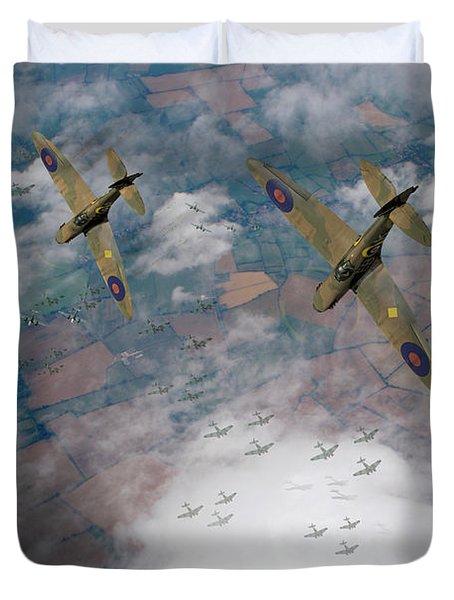 Raf Spitfires Swoop On Heinkels In Battle Of Britain Duvet Cover