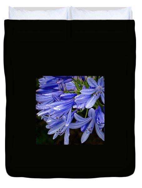 Rain Drops On Blue Flower II Duvet Cover