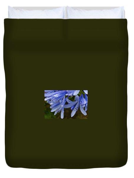 Rain Drops On Blue Flower Duvet Cover