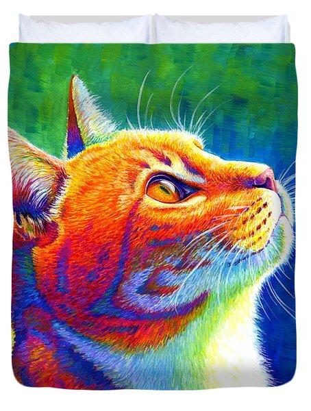 Rainbow Cat Portrait Duvet Cover