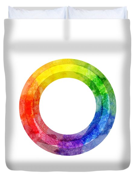 Duvet Cover featuring the painting Rainbow Color Wheel by Lauren Heller