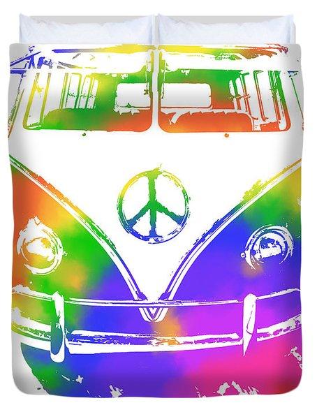 Rainbow Colored Peace Bus Duvet Cover