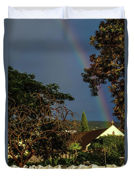 Rainbow Ended At The Church Duvet Cover