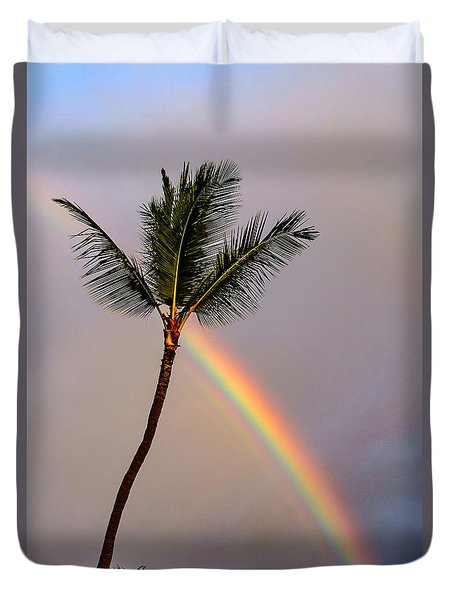 Rainbow Just Before Sunset Duvet Cover