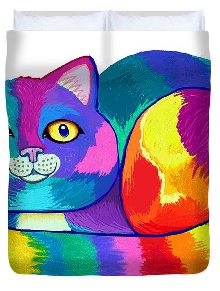 Rainbow Spectrum Cat Duvet Cover