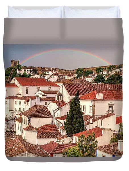 Rainbow Over Castle Duvet Cover