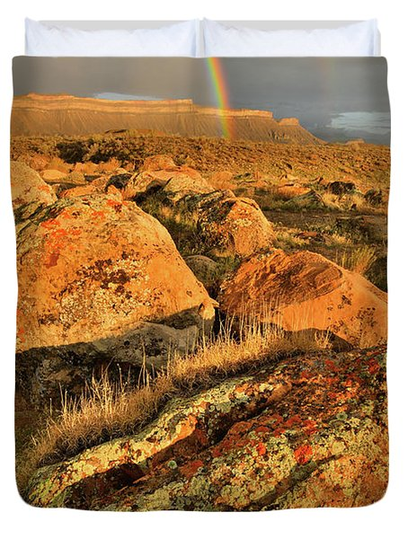 Rainbow Over The Book Cliffs Duvet Cover