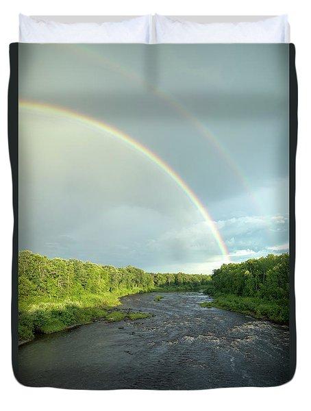 Rainbow Over The Littlefork River Duvet Cover