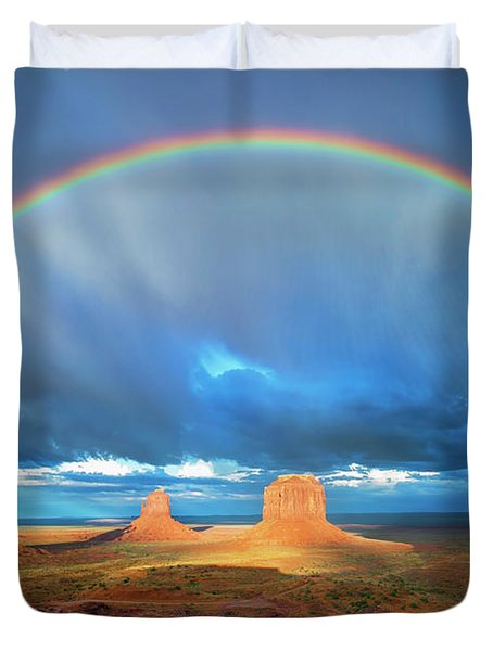Rainbow Over The Mittens Afternoon Duvet Cover