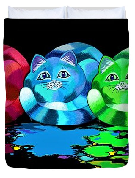 Rainbow Painted Cats Duvet Cover