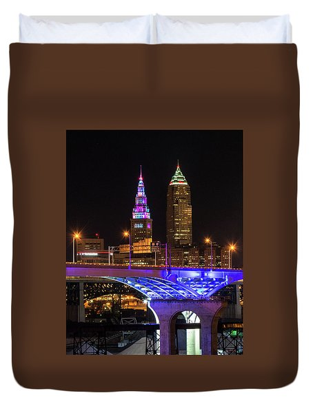 Rainbow Tower In Cleveland Duvet Cover