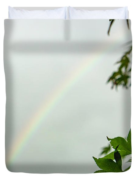 Rainbow With Leaves In Foreground Duvet Cover