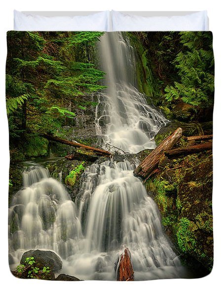 Rainier Falls Creek Falls Duvet Cover