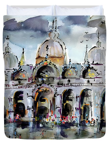 Rainy Day In Venice Piazza San Marco Duvet Cover