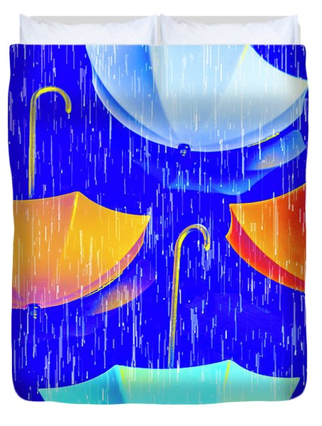 Rainy Day Parade Duvet Cover