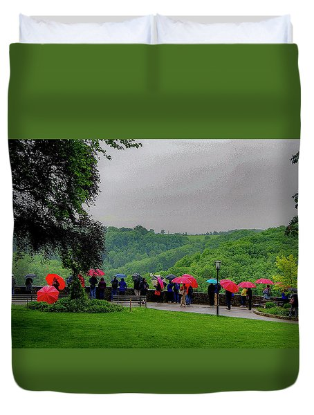 Duvet Cover featuring the photograph Rainy Day Umbrellas by Phyllis Spoor