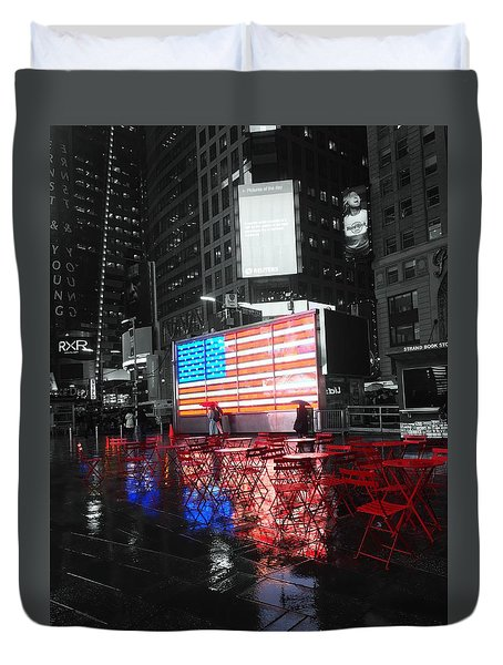 Rainy Days In Time Square  Duvet Cover