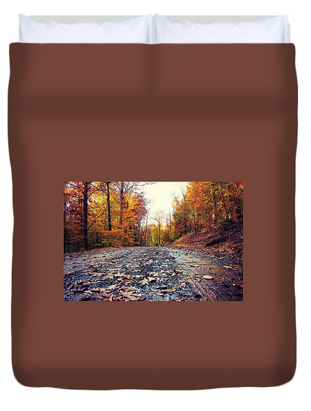 Duvet Cover featuring the photograph Rainy Fall Roads by Candice Trimble