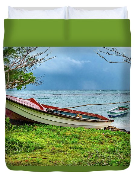 Rainy Fishing Day Duvet Cover