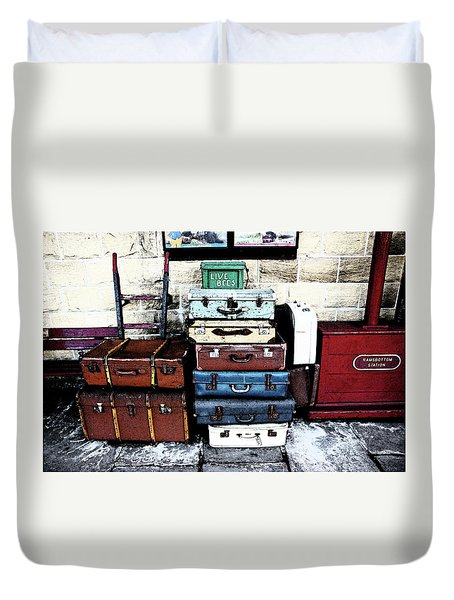 Ramsbottom.  Elr Railway Suitcases On The Platform. Duvet Cover