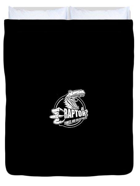 Raptor Comics Black Duvet Cover