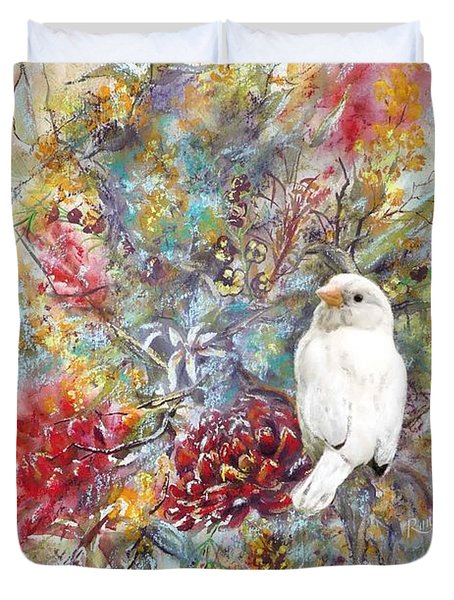 Rare White Sparrow - Portrait View. Duvet Cover