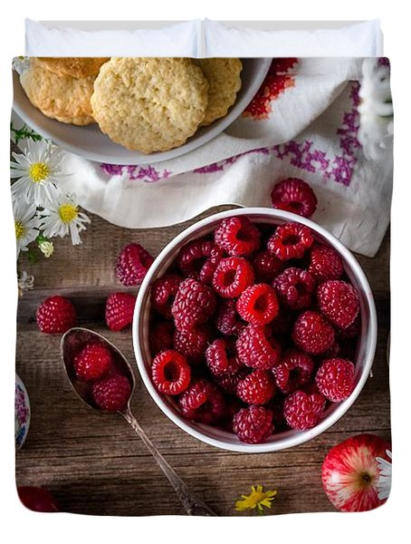 Duvet Cover featuring the photograph Raspberry Breakfast by Top Wallpapers