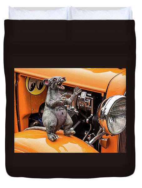 Rat On Fender Duvet Cover