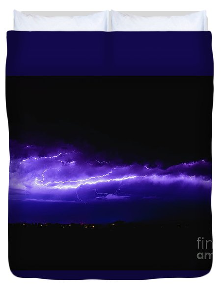 Rays In A Night Storm With Light And Clouds. Duvet Cover