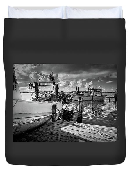 Duvet Cover featuring the photograph Ready To Go In Bw by Doug Camara
