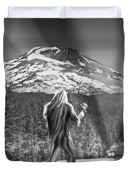 Rear View Of A Sasquatch Hitchhiking Duvet Cover