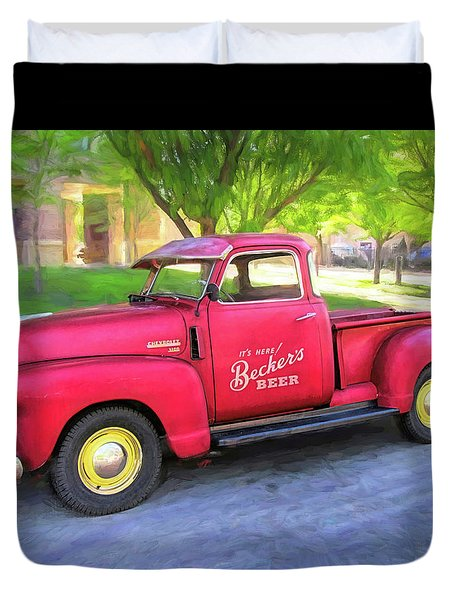 Red 1950 Chevy 3100 Pickup Duvet Cover
