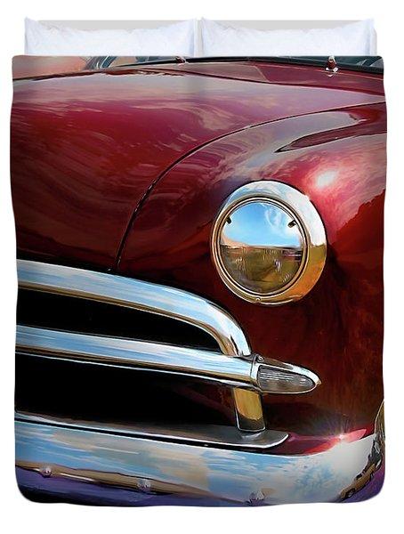 Red 1950 Ford Traditional Custom Duvet Cover