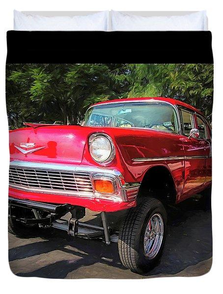 Red 1956 Chevy Gasser Duvet Cover