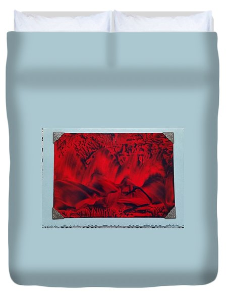 Red And Black Encaustic Abstract Duvet Cover