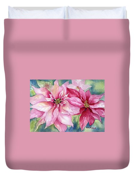 Red And Pink Poinsettias Duvet Cover