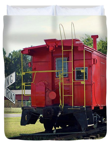 Duvet Cover featuring the photograph Red And Yellow Caboose At Nassawadox by Bill Swartwout Fine Art Photography