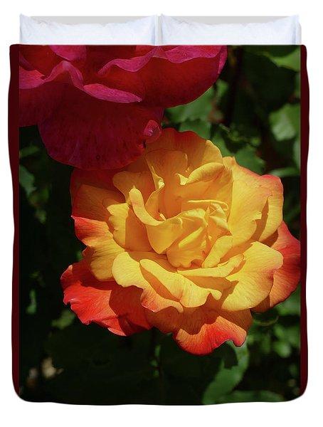 Red And Yellow Rio Samba Roses Duvet Cover