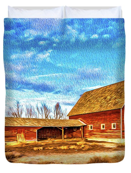Red Barn And Brick Silo Duvet Cover