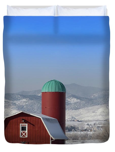 Red Barn, Silo And The Orange Tractor Duvet Cover