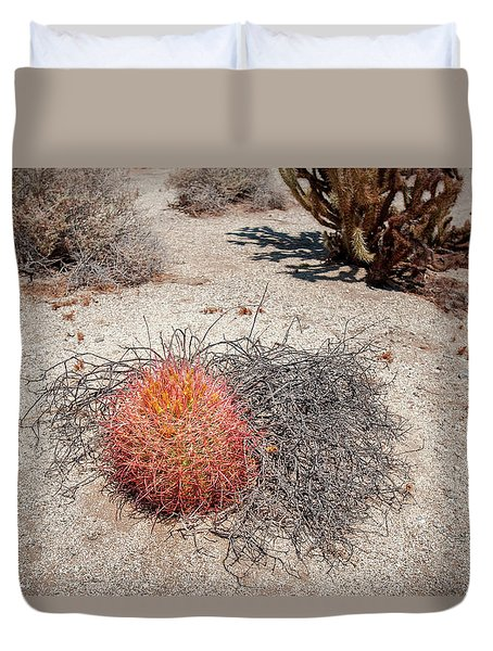 Red Barrel Cactus And Mesquite Duvet Cover