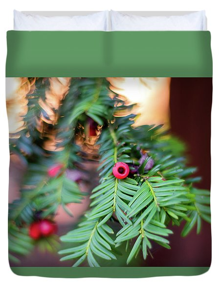Duvet Cover featuring the photograph Red Berry On Green by Scott Lyons