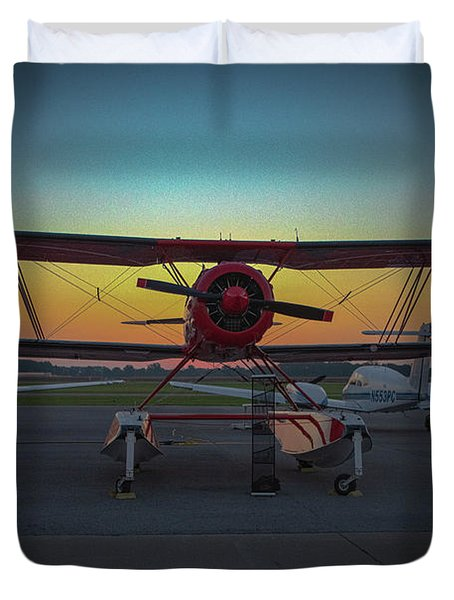 Red Biplane At Dawn Duvet Cover