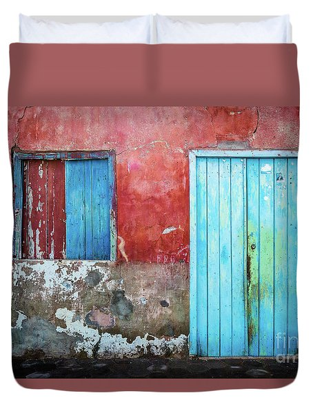 Red, Blue And Grey Wall, Door And Window Duvet Cover