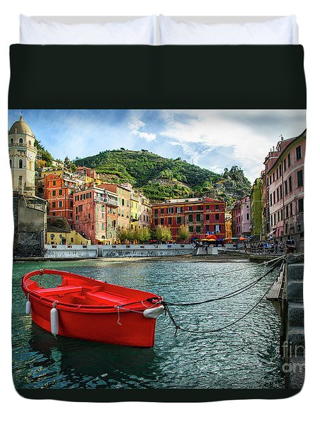 Red Boat Vernazza Cinque Terre  Duvet Cover